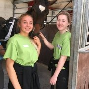 2 of our land-based students from Pencoed Campus with a horse