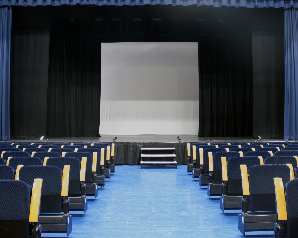 Internal view of our theatre seating looking to the stage