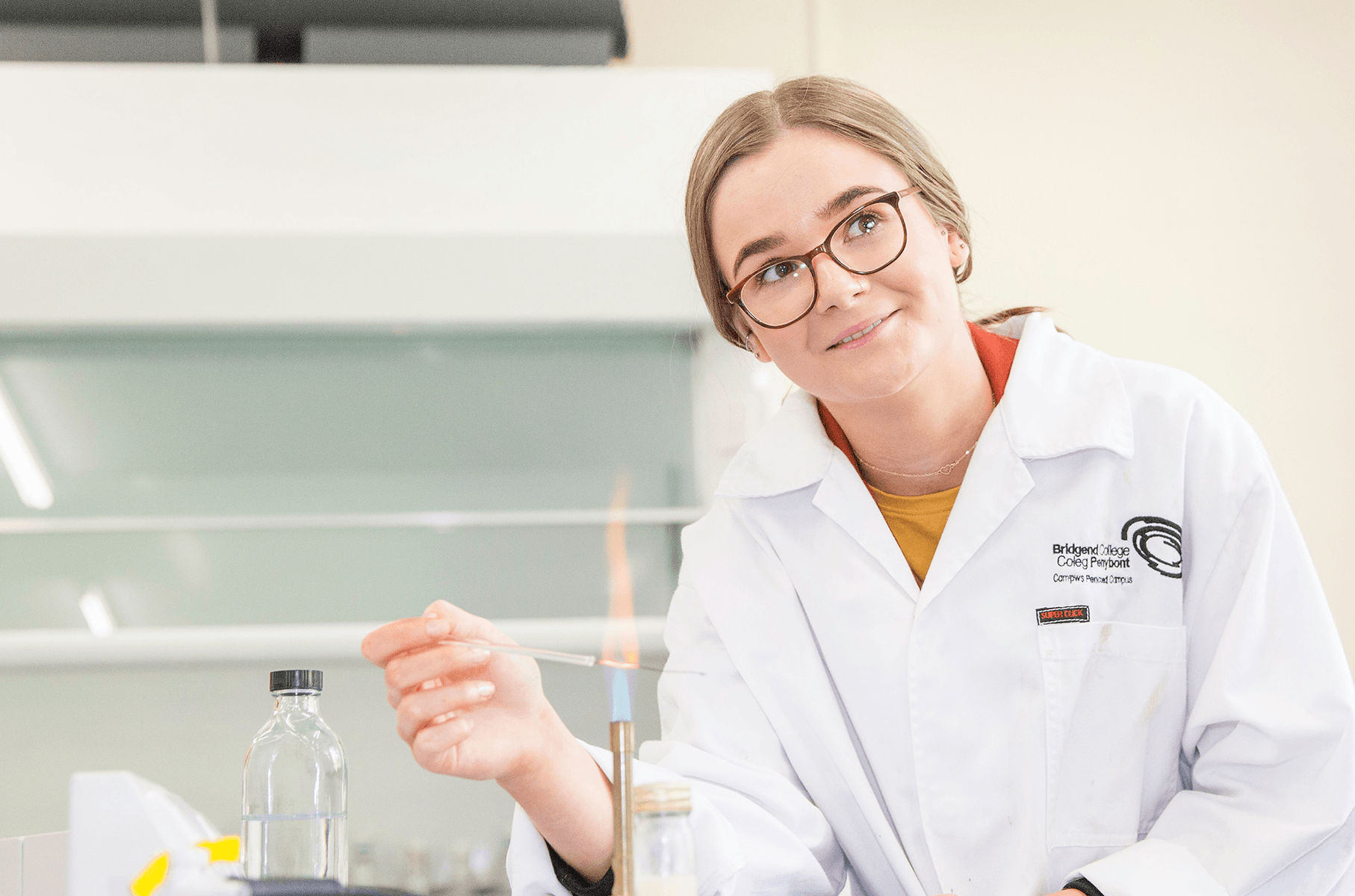 Student wearing a lab coat